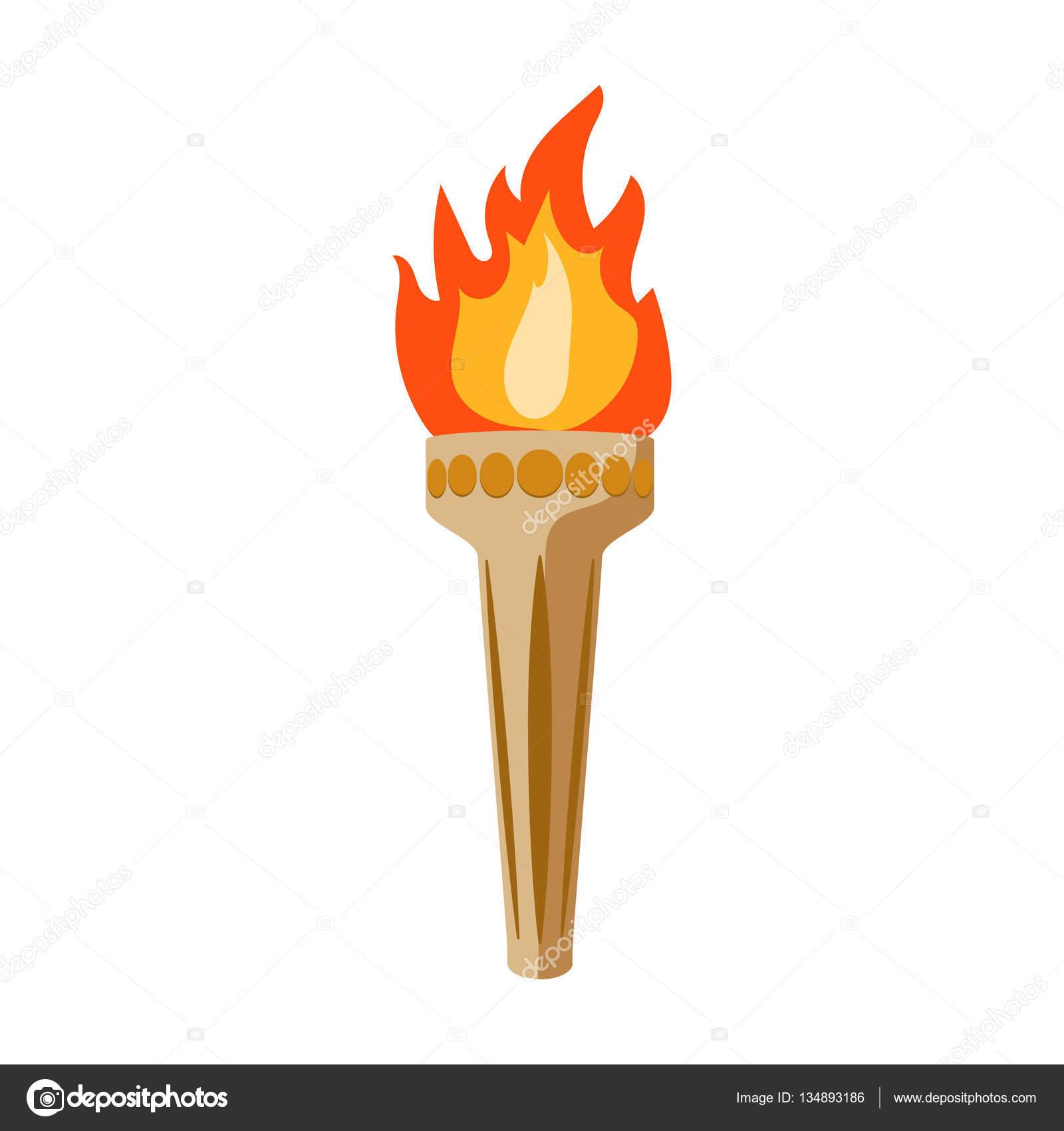 Ic ne de la flamme olympique dans le style de dessin anim - Flamme olympique dessin ...
