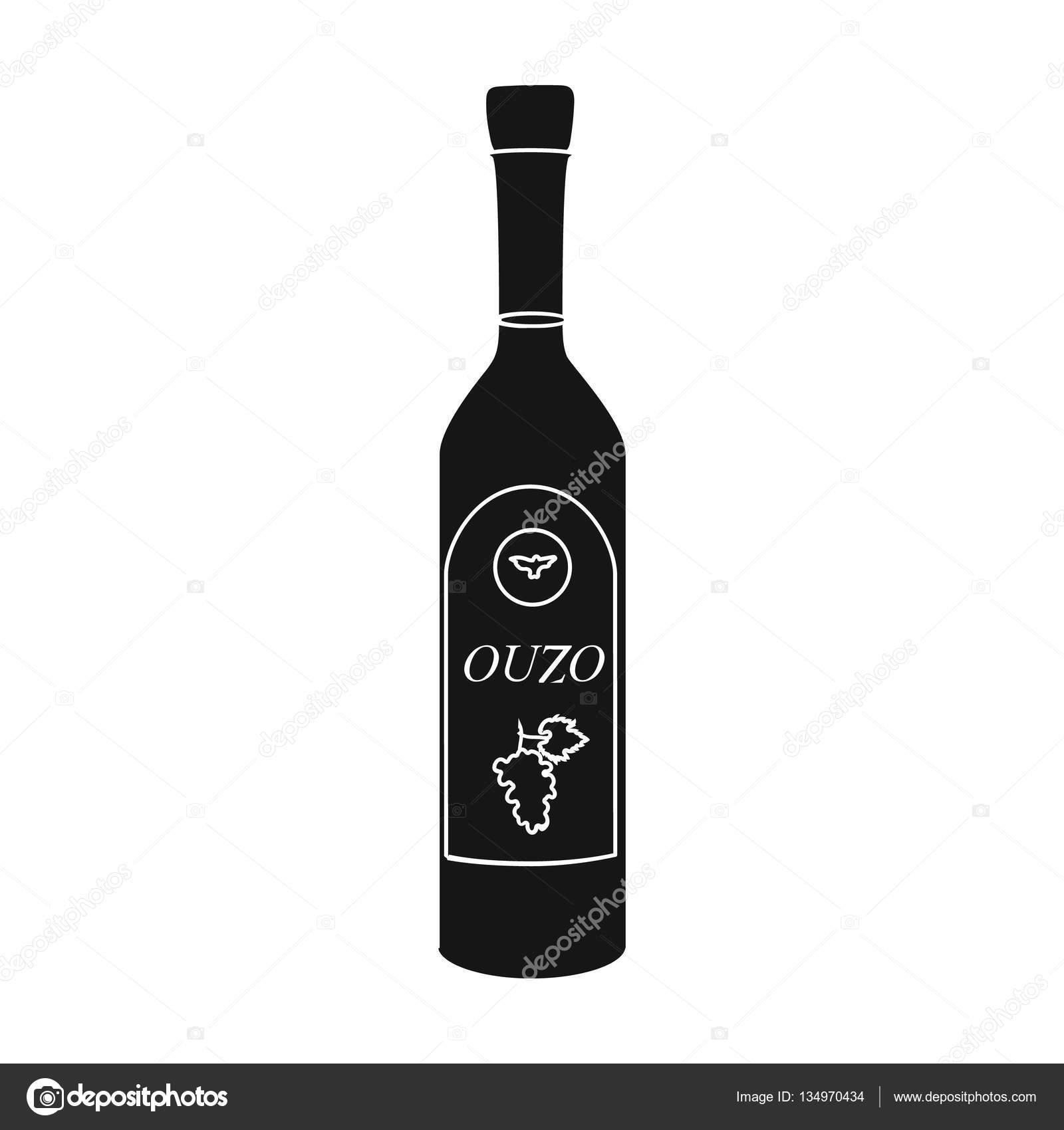 Bottle Of Ouzo Icon In Black Style Isolated On White
