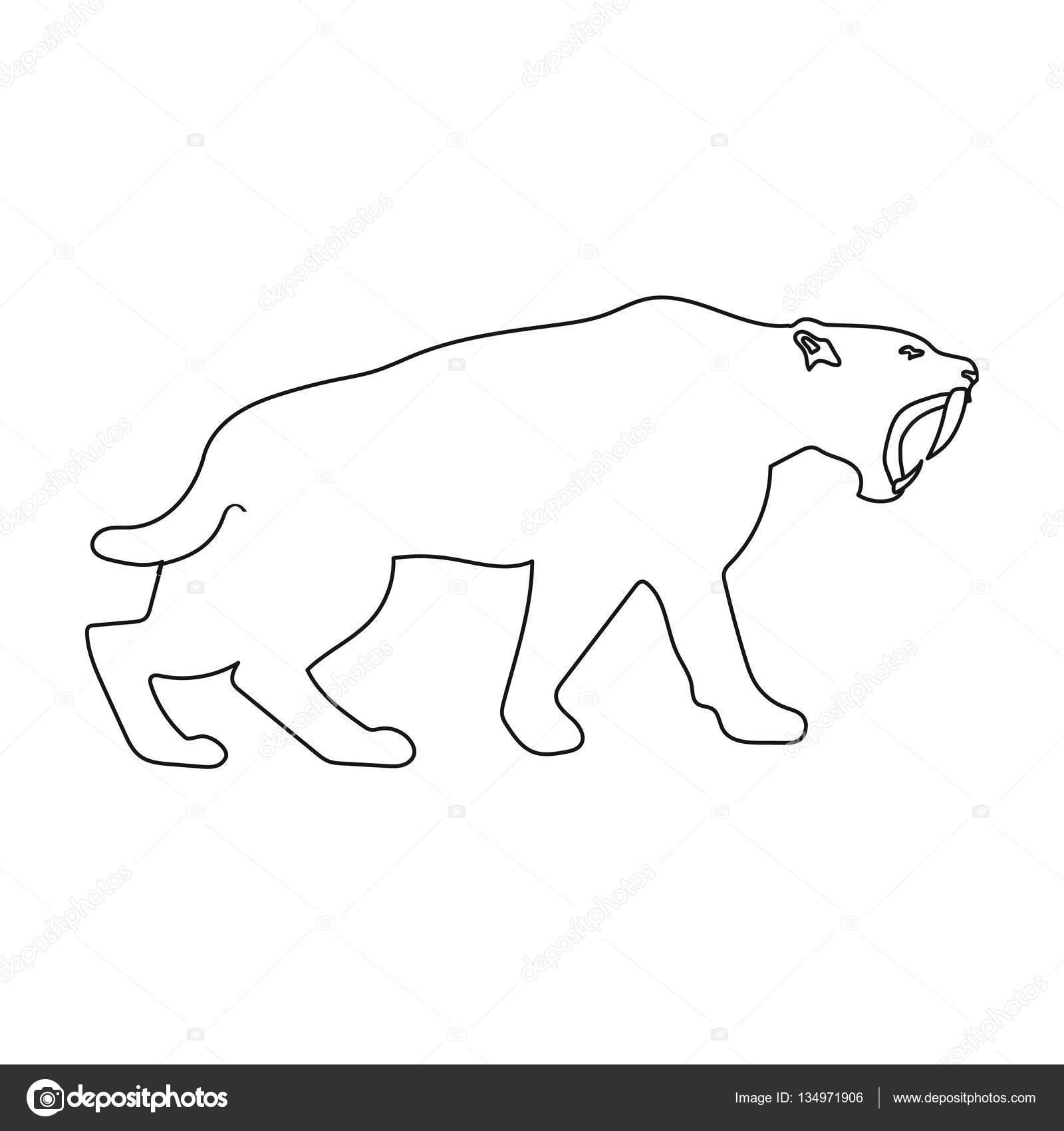 Icono de tigre dientes de sable en el estilo de contorno aislada ...