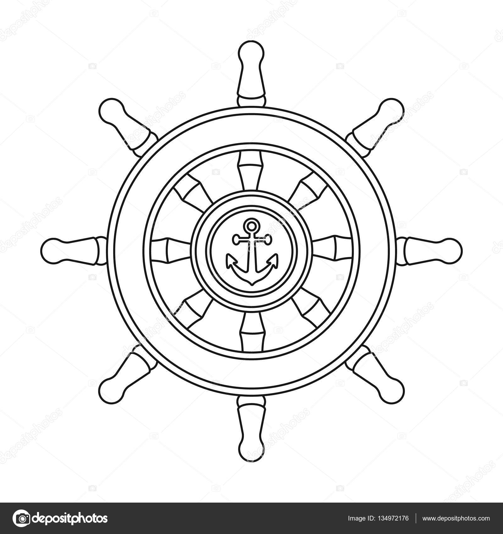 Wooden Ship Steering Wheel Icon In Outline Style Isolated On White Background Pirates Symbol Stock Vector Illustration Stock Vector C Pandavector 134972176