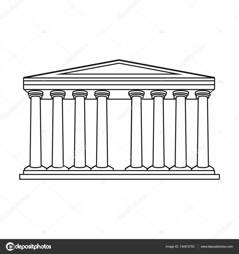 Antique greek temple icon in outline style isolated on white antique greek temple icon in outline style isolated on white background greece symbol stock vector biocorpaavc