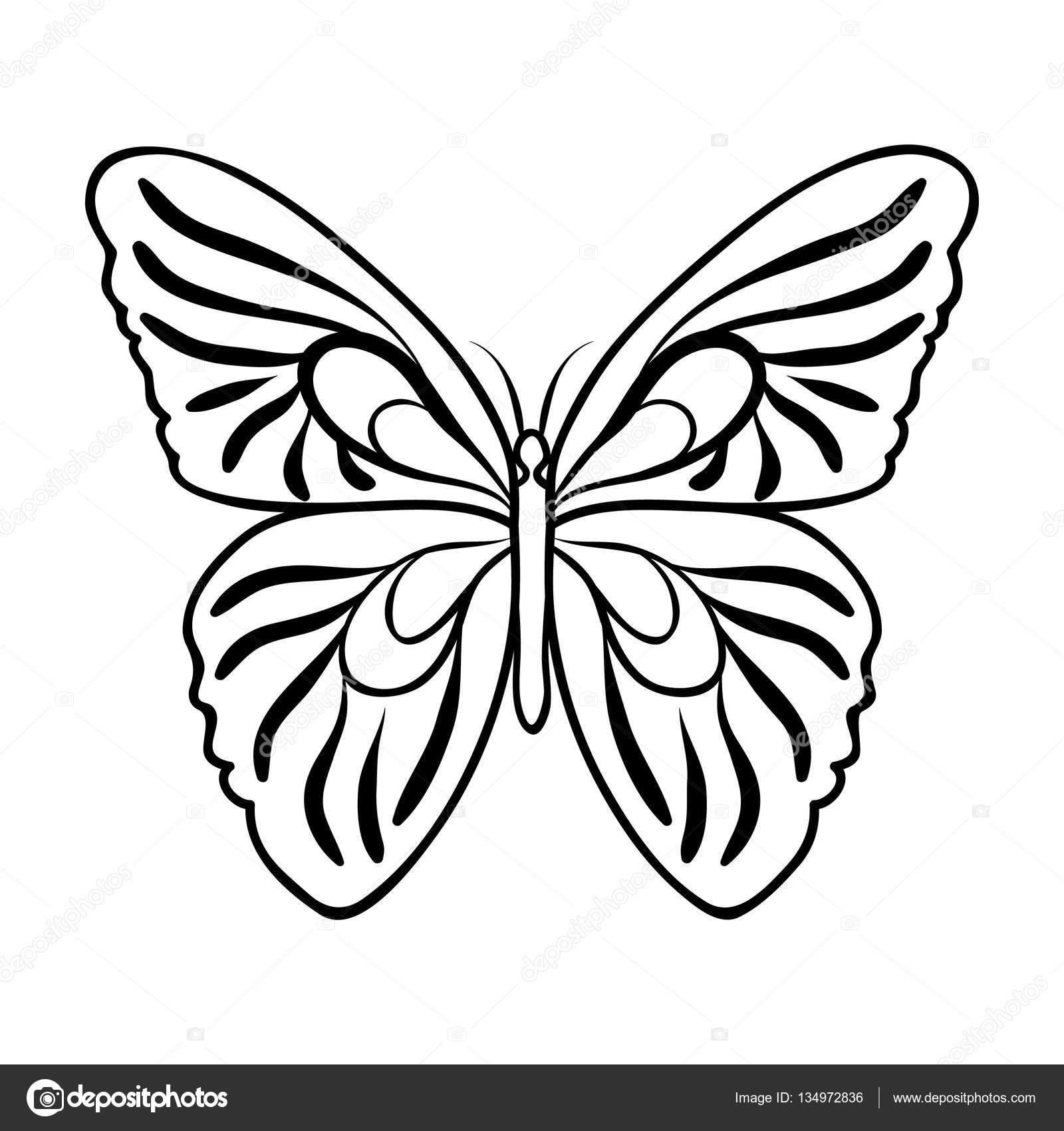Icono de mariposa contorno estilo aislado sobre fondo blanco ...