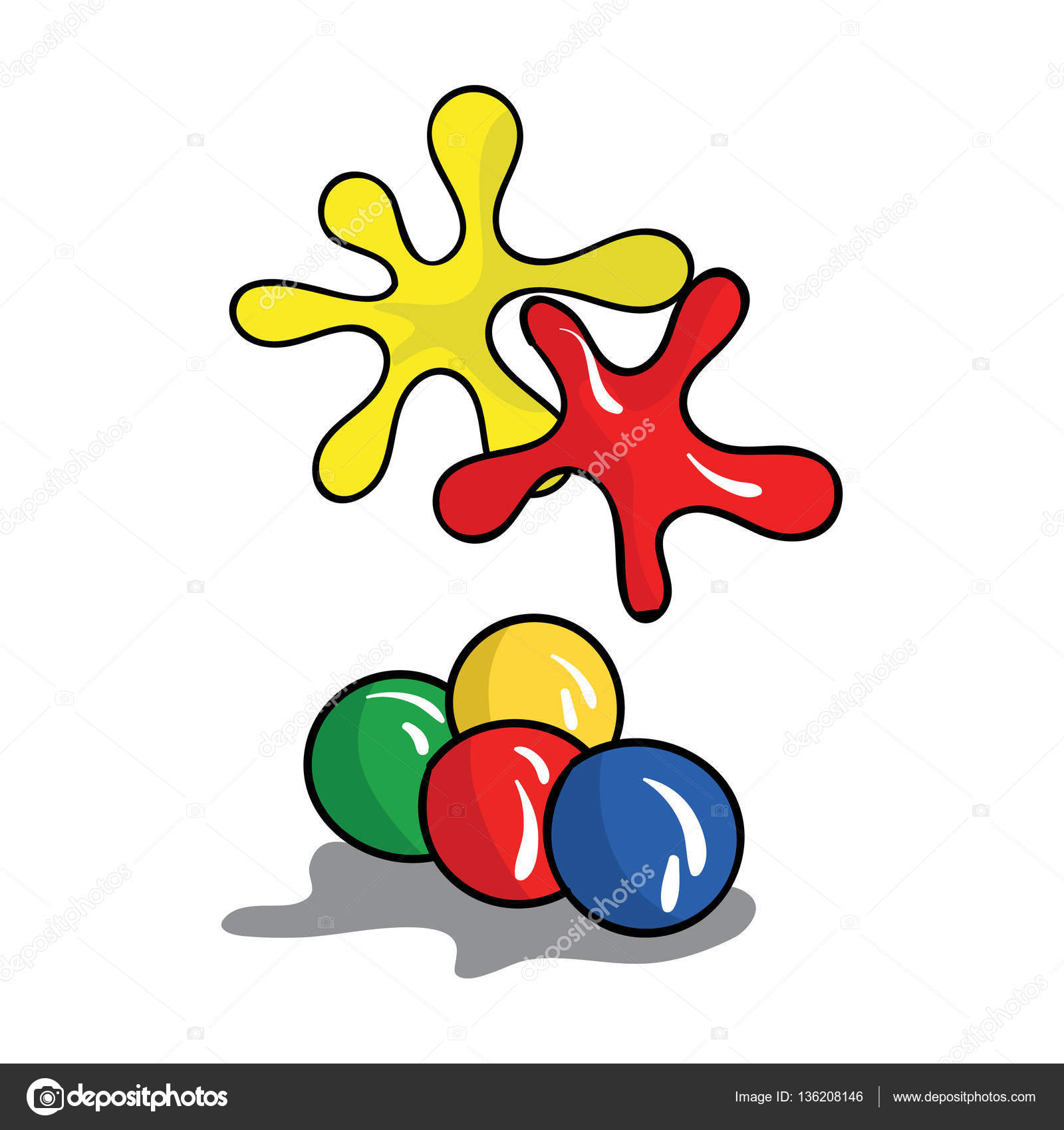 Balls For Paintball Icon In Cartoon Style Isolated On White