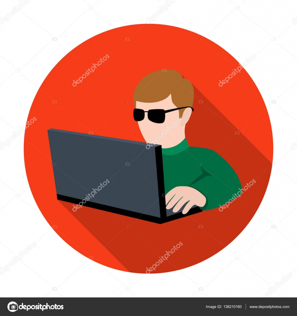 Computer hacker icon in flat style isolated on white ...