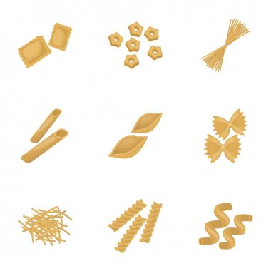 Types of pasta set icons in cartoon style. Big collection of types of pasta vector symbol stock illustration