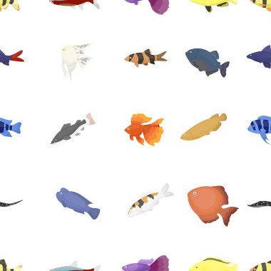 Aquarium fish pattern icons in cartoon style. Big collection aquarium fish vector symbol stock illustration
