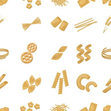 Types of pasta pattern icons in cartoon style. Big collection of types of pasta vector symbol stock illustration