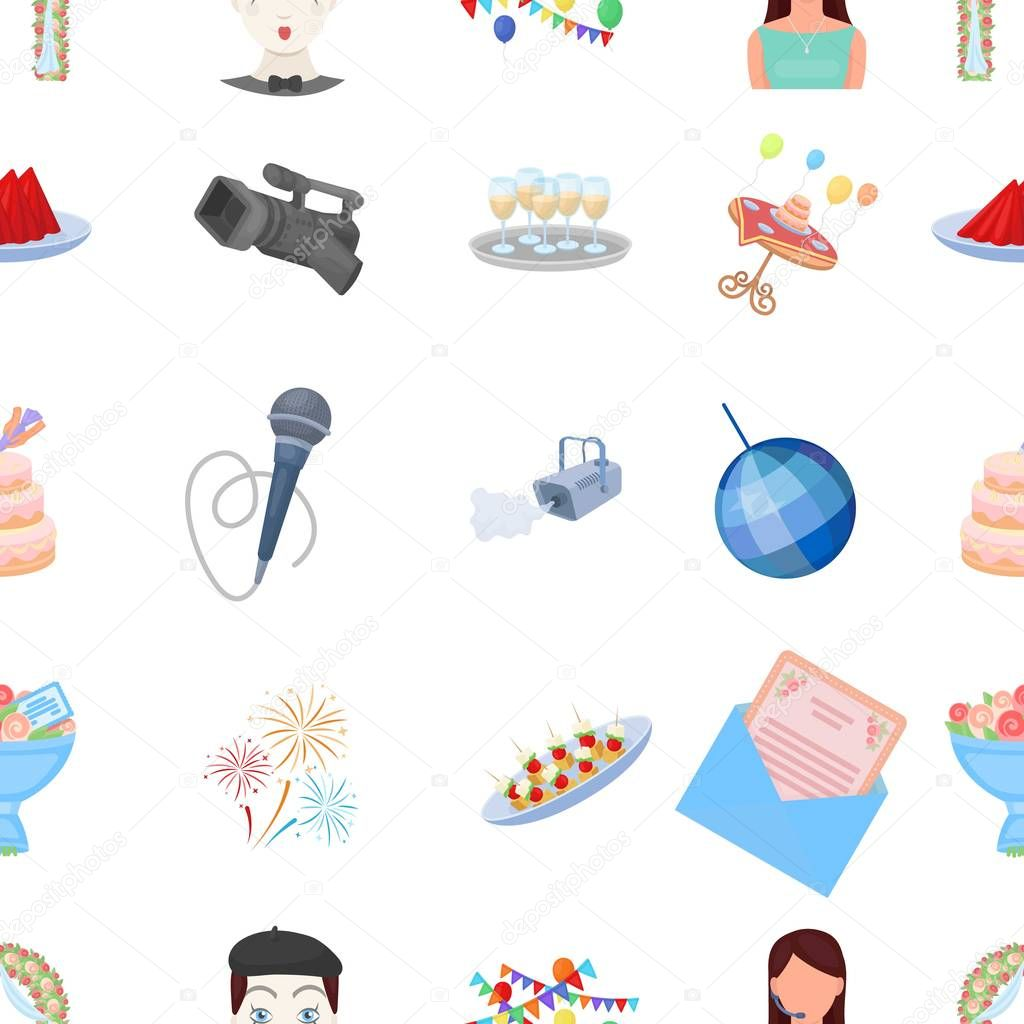 Event service pattern icons in cartoon stye. Big collection of event service vector symbol stock