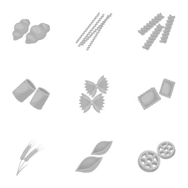 Types of pasta set icons in monochrome style. Big collection of types of pasta vector symbol stock illustration