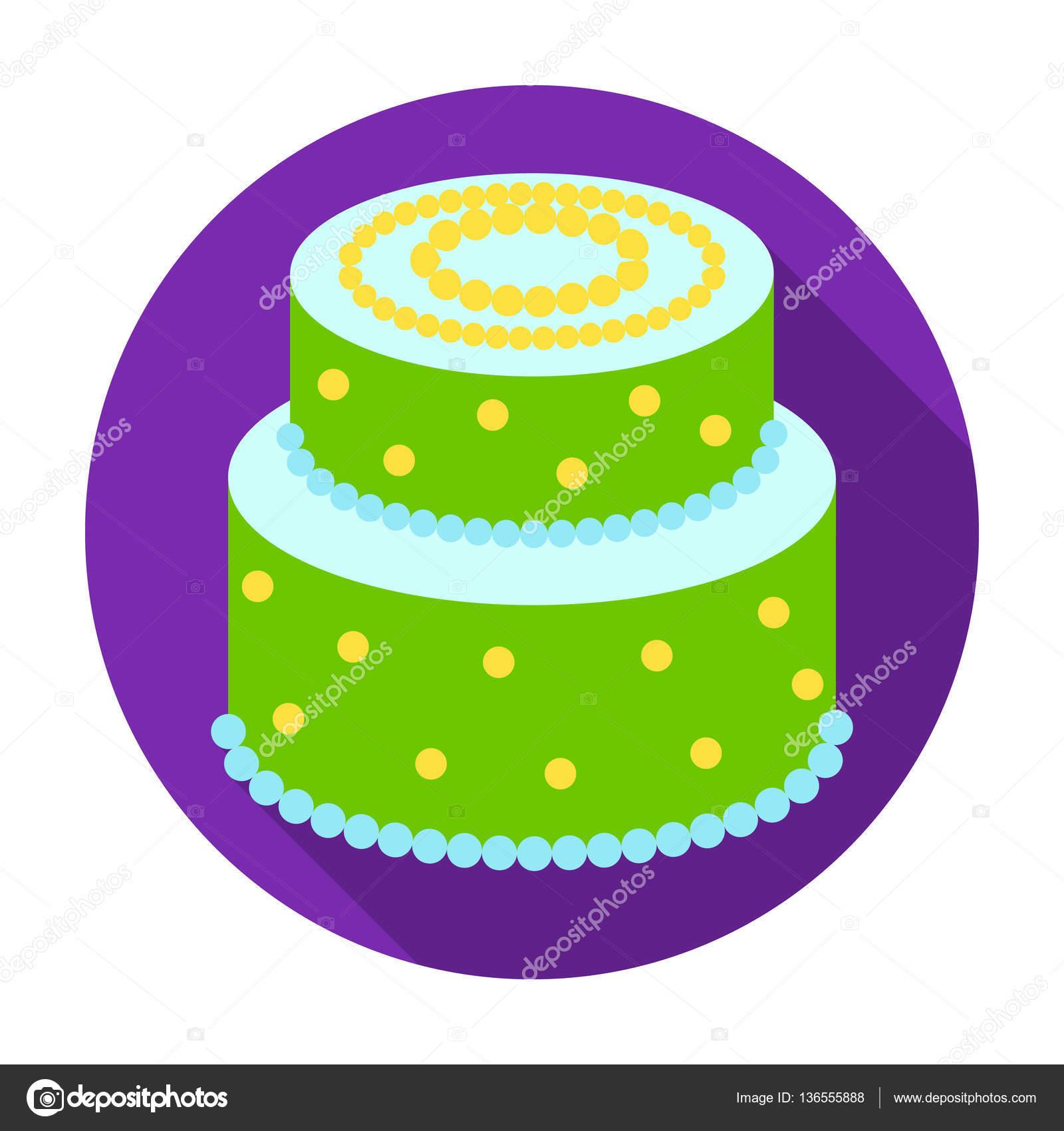 Grüne Kuchen Mit Gelben Punkten Symbol Im Flachen Stil Isoliert Auf Weißem  Hintergrund. Kuchen