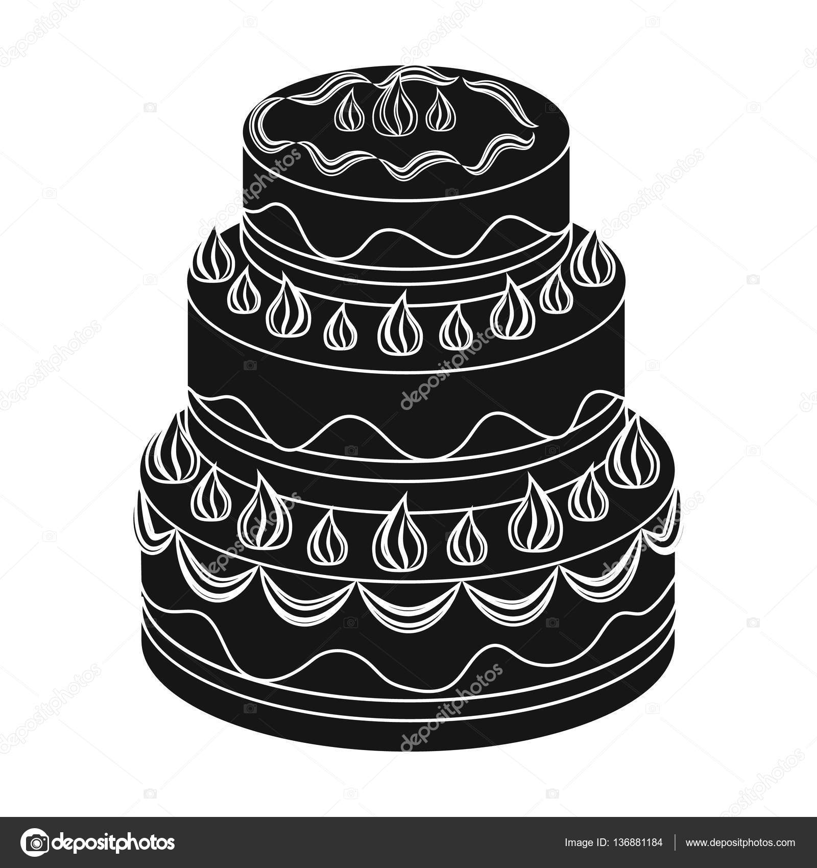 Red threeply cake icon in black style isolated on white background