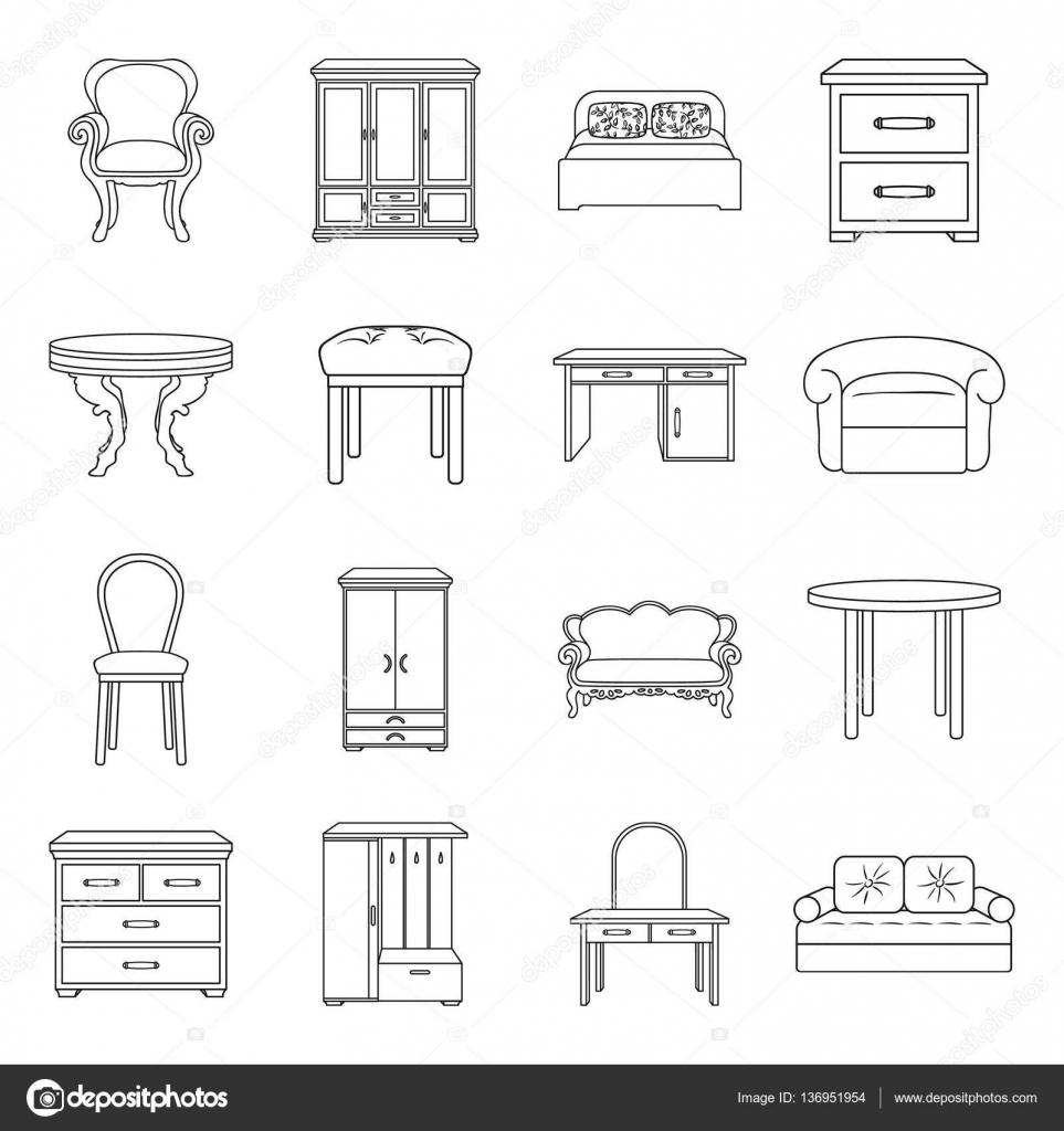 Mobilier et intérieur de la maison définir des icônes dans le style de contour grande collection de meubles et la maison intérieur symbole stock