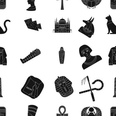 Ancient Egypt pattern icons in black style. Big collection of ancient Egypt vector symbol stock illustration