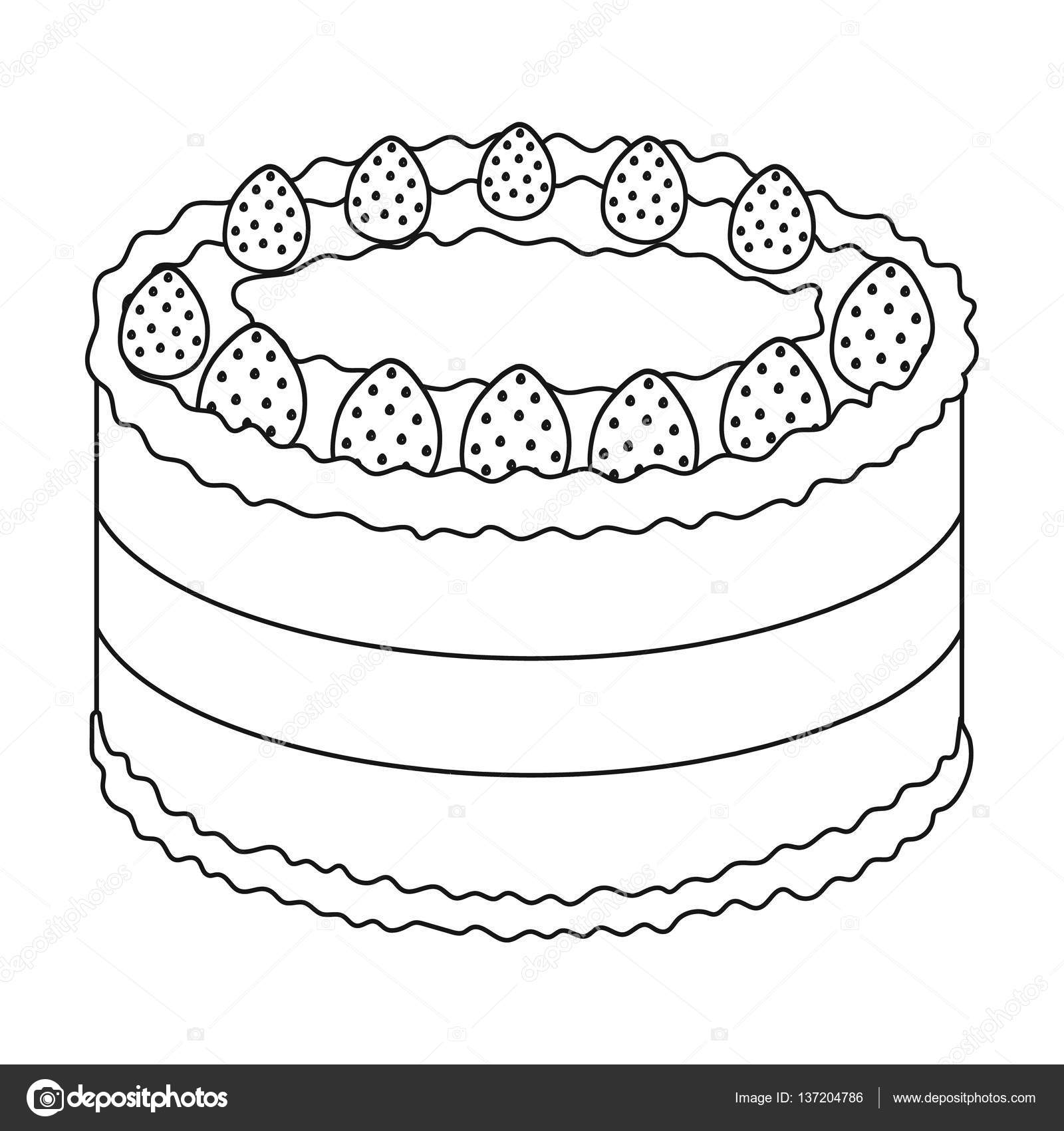 Strawberry Cake Icon In Outline Style Isolated On White Background