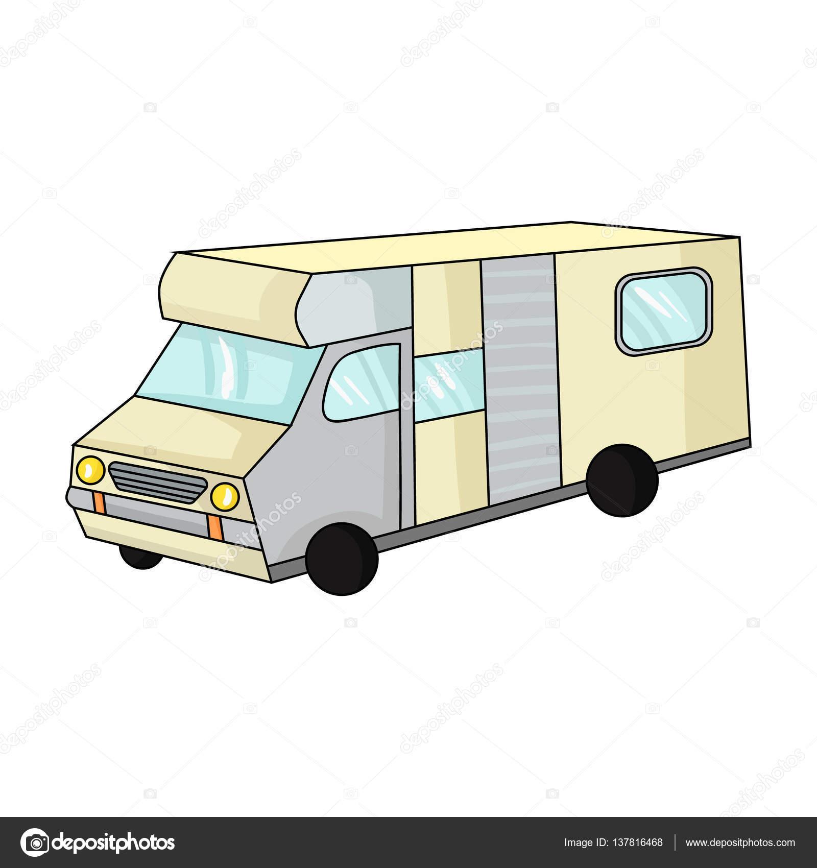 Camping Car Dessin icône de camping-car dans le style de dessin animé isolé sur fond