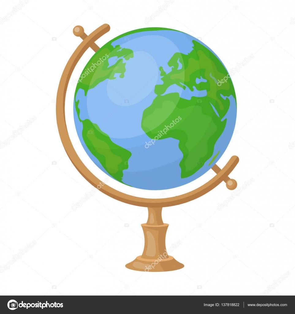 Globus Symbol Im Cartoon Stil Die Isoliert Auf Weissem Hintergrund