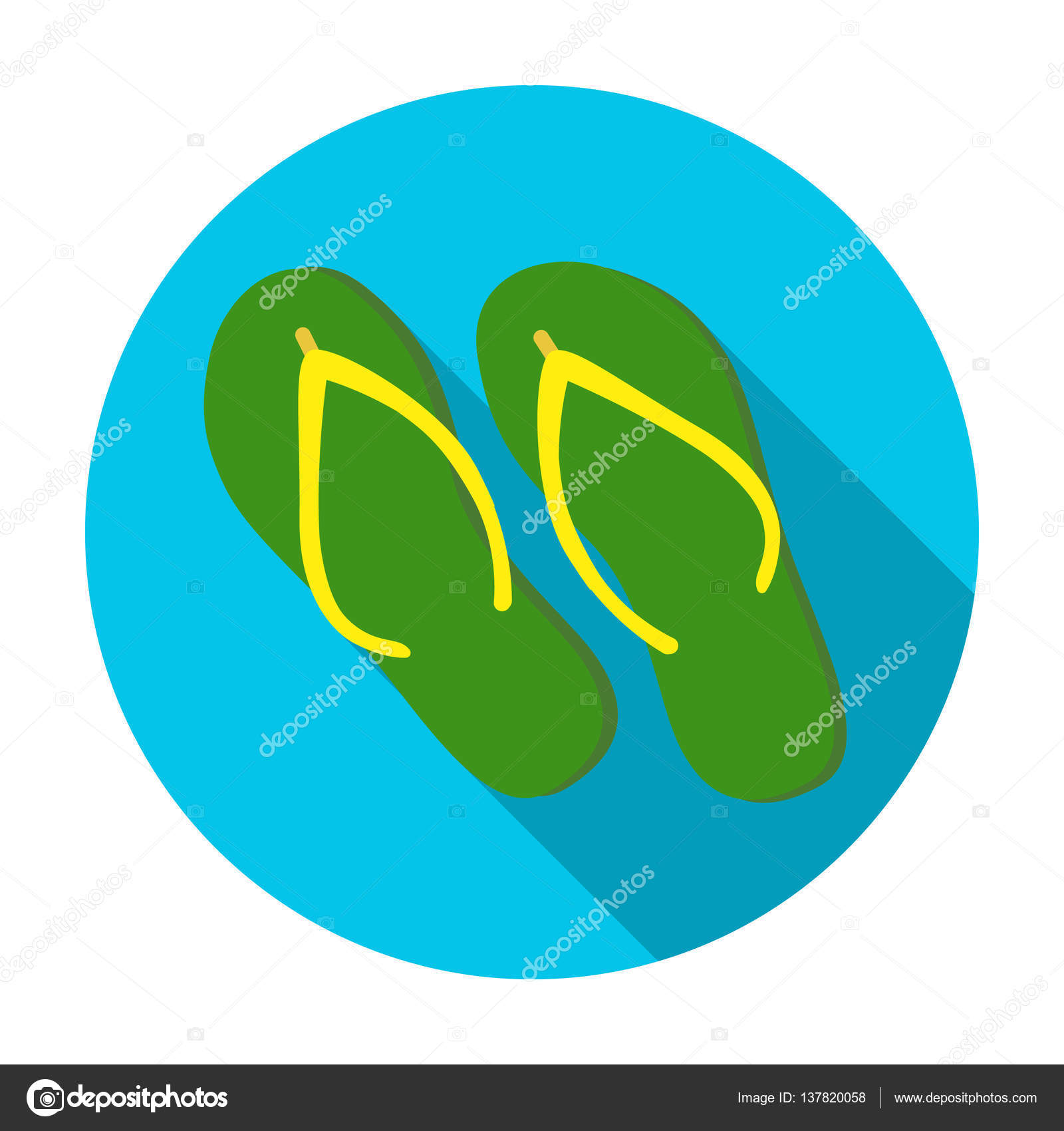 7fa176d56353 Green flip-flops icon in flat design isolated on white background. Brazil  country symbol stock vector illustration.