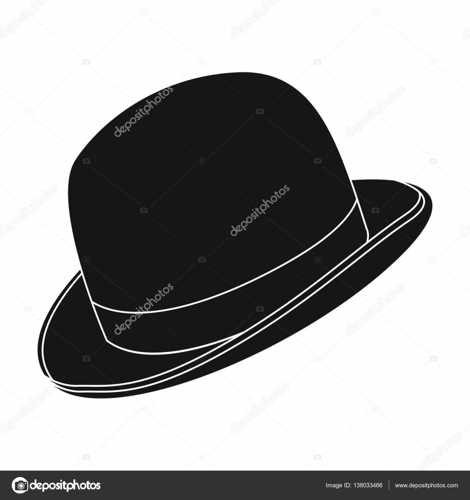 239fee7b645 Bowler hat icon in black design isolated on white background. Hipster style  symbol stock vector illustration. — Vector by PandaVector
