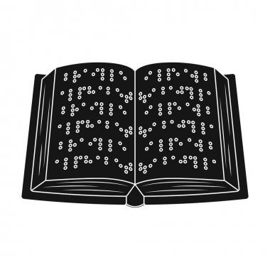 Book written in braille icon in black style isolated on white background. Interpreter and translator symbol stock vector illustration.