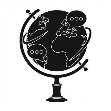 Globe of various languages icon in black style isolated on white background. Interpreter and translator symbol stock vector illustration.