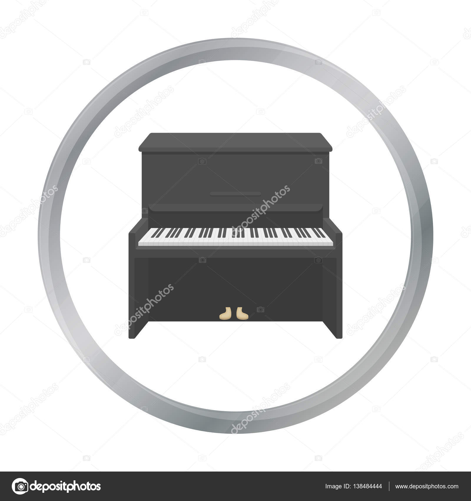Piano Icon In Cartoon Style Isolated On White Background Musical