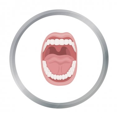 Mouth icon in cartoon style isolated on white background. Organs symbol stock vector illustration.