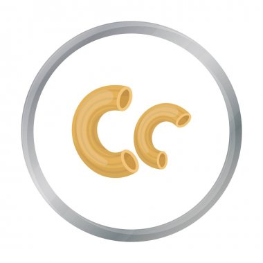 Chifferi pasta icon in cartoon style isolated on white background. Types of pasta symbol stock vector illustration.