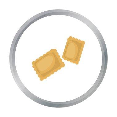 Ravioli pasta icon in cartoon style isolated on white background. Types of pasta symbol stock vector illustration.