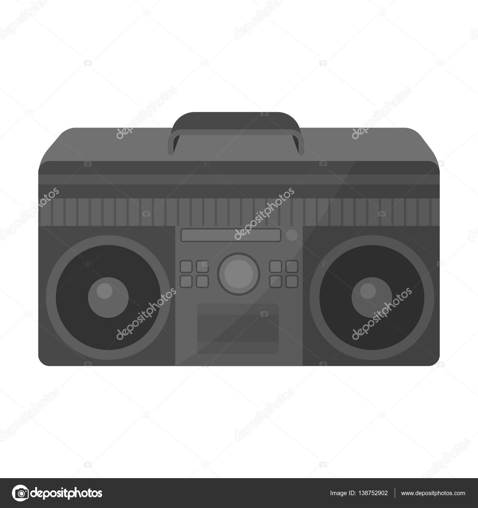 Icono de Boombox en estilo monocromo aislado sobre fondo blanco ...