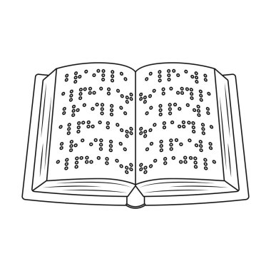 Book written in braille icon in outline style isolated on white background. Interpreter and translator symbol stock vector illustration.