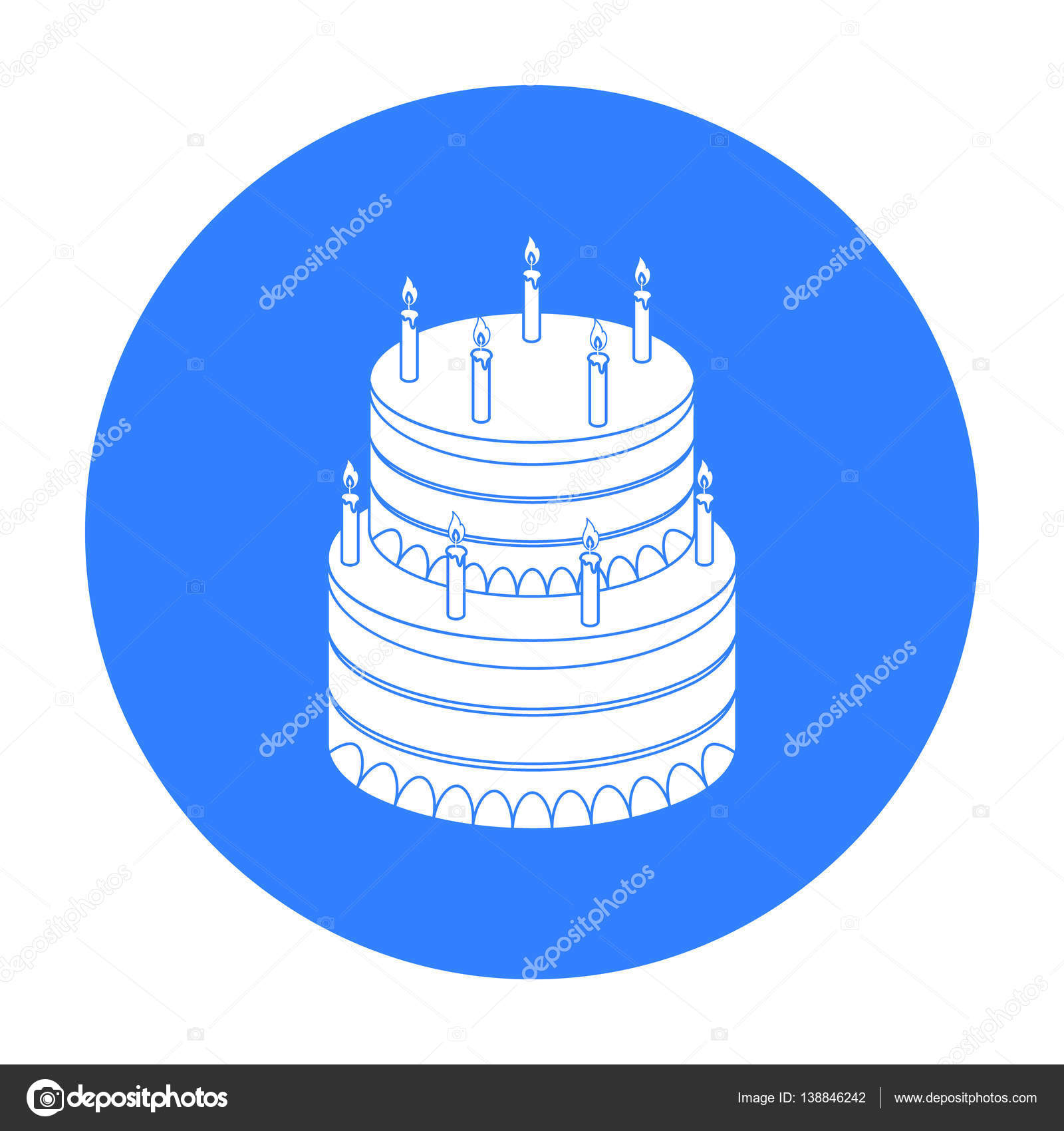 Birthday cake icon in black style isolated on white background