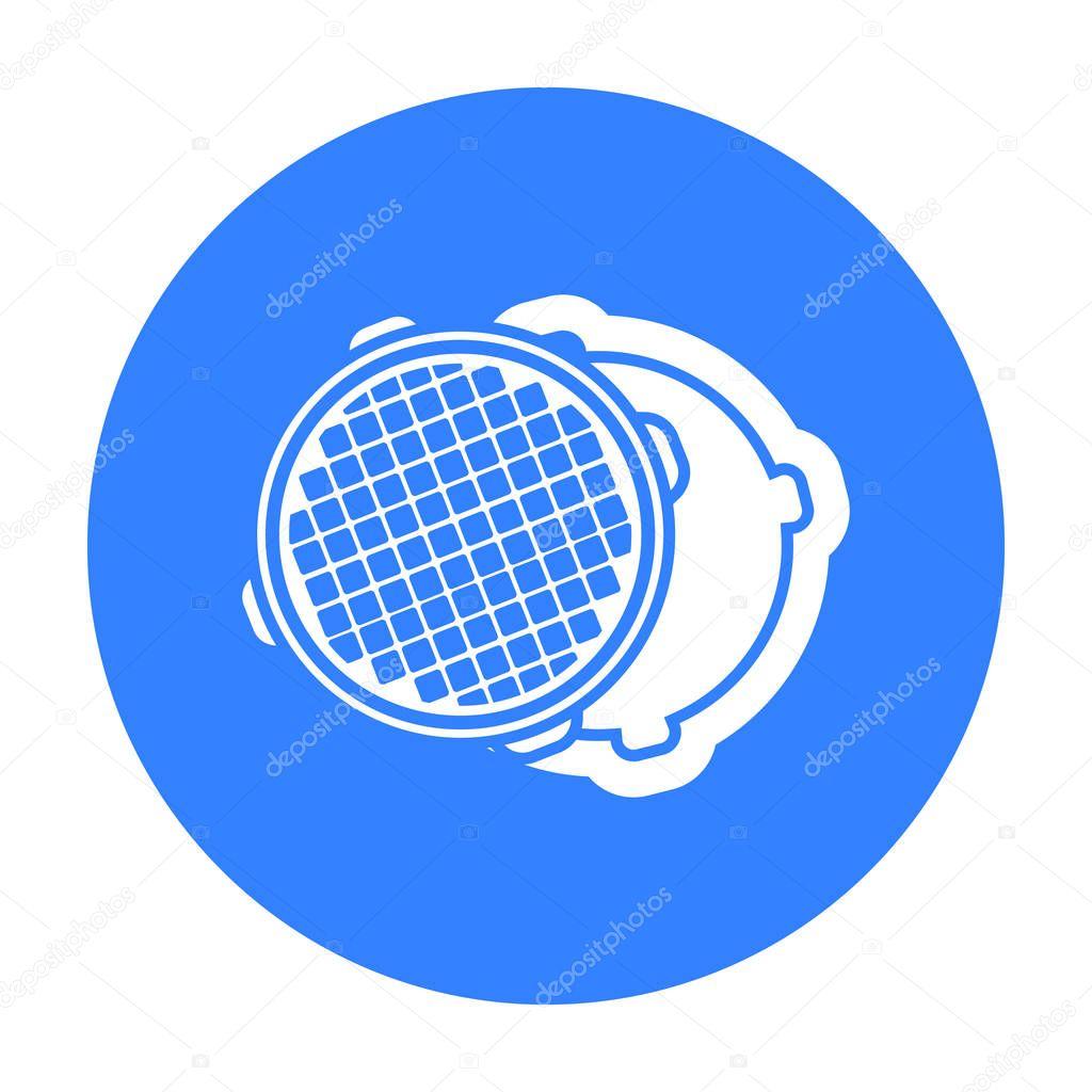 Manhole icon in black style isolated on white background. Plumbing symbol stock vector illustration.