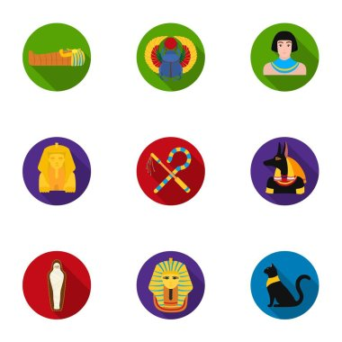 Ancient Egypt set icons in flat style. Big collection of ancient Egypt vector symbol stock illustration