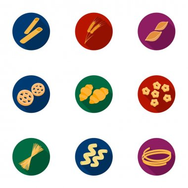 Types of pasta set icons in flat style. Big collection of types of pasta vector symbol stock illustration