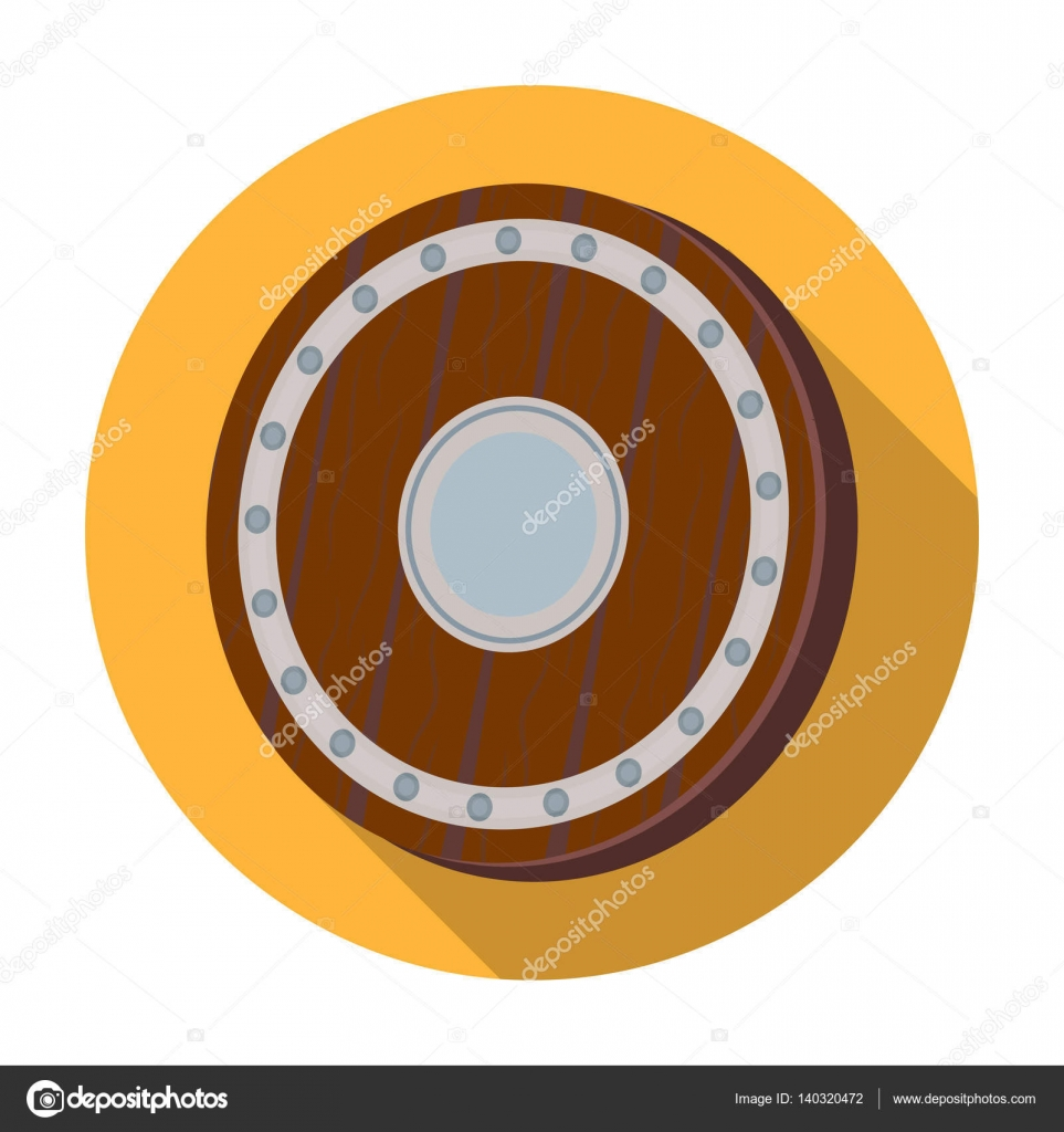 Viking Shield Icon In Flat Style Isolated On White Background