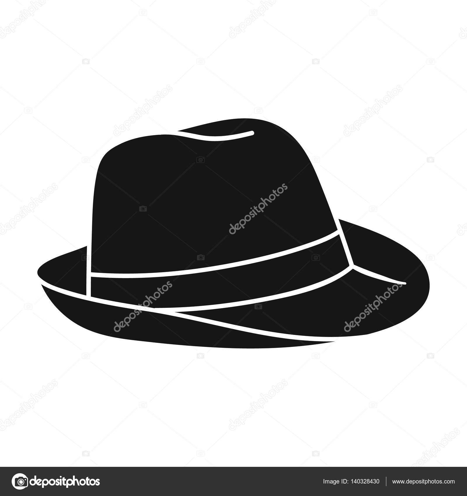 8a82e79ec62bf Chapéu Panamá ícone no estilo preto isolado no fundo branco. Ilustração de  estoque vetorial de