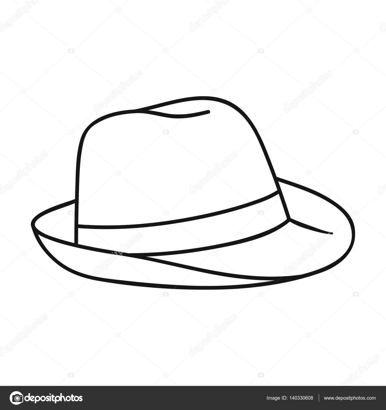 5211111af871d Chapéu Panamá ícone no estilo de contorno isolado no fundo branco.  Ilustração de estoque vetorial
