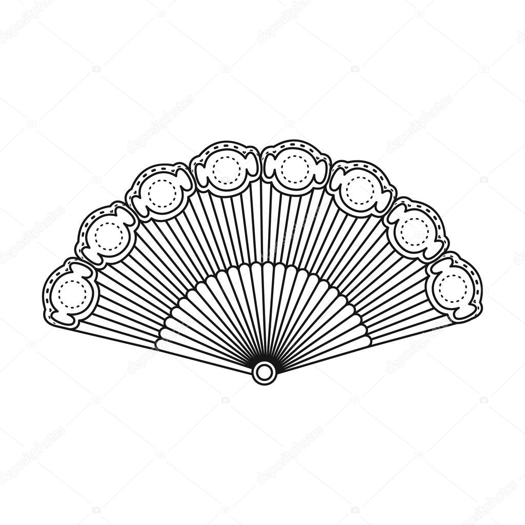 flamenco fan icon in outline style isolated on white background Colombia Country Outline flamenco fan icon in outline style isolated on white background spain country symbol stock vector illustration stock illustration