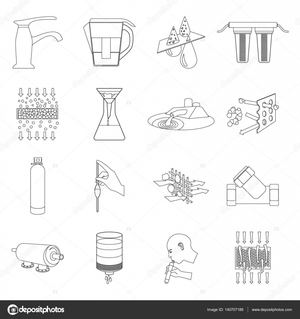 Water Filtration System Set Icons In Outline Style Big Collection Diagram Of Vector