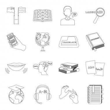 Interpreter and translator set icons in outline style. Big collection of interpreter and translator vector symbol stock illustration