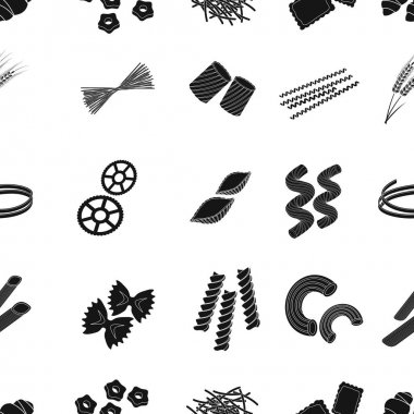 Types of pasta pattern icons in black style. Big collection of types of pasta vector symbol stock illustration