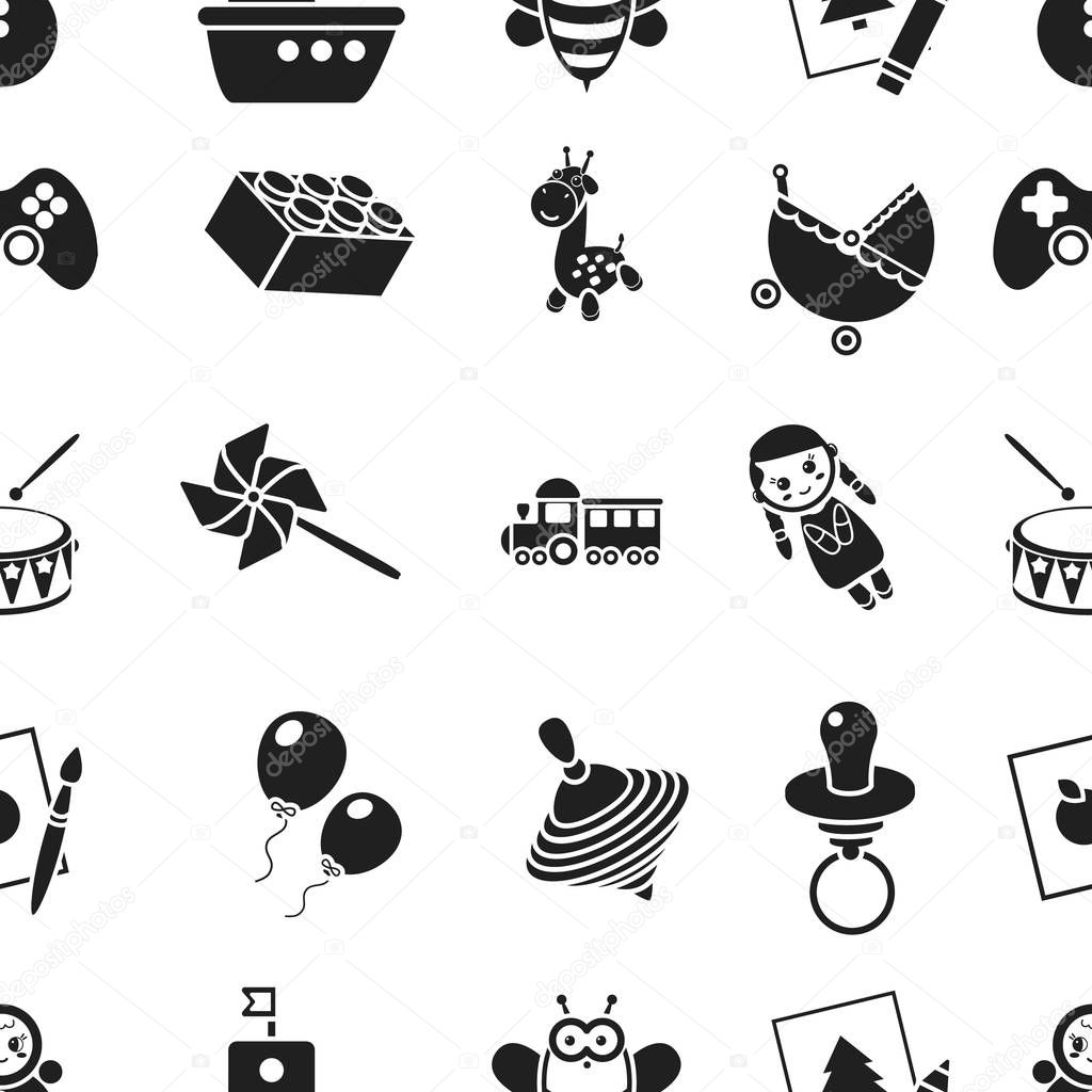 Toys pattern icons in black style. Big collection of toys vector symbol stock illustration