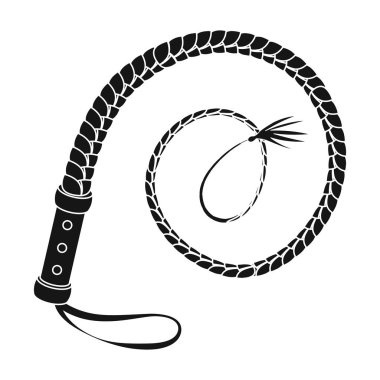 Whip icon in monochrome style isolated on white background. Rodeo symbol stock vector illustration.
