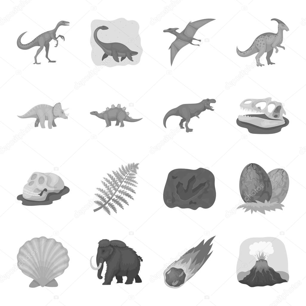 Dinosaurs and prehistoric set icons in monochrome style. Big collection of dinosaurs and prehistoric vector symbol stock illustration