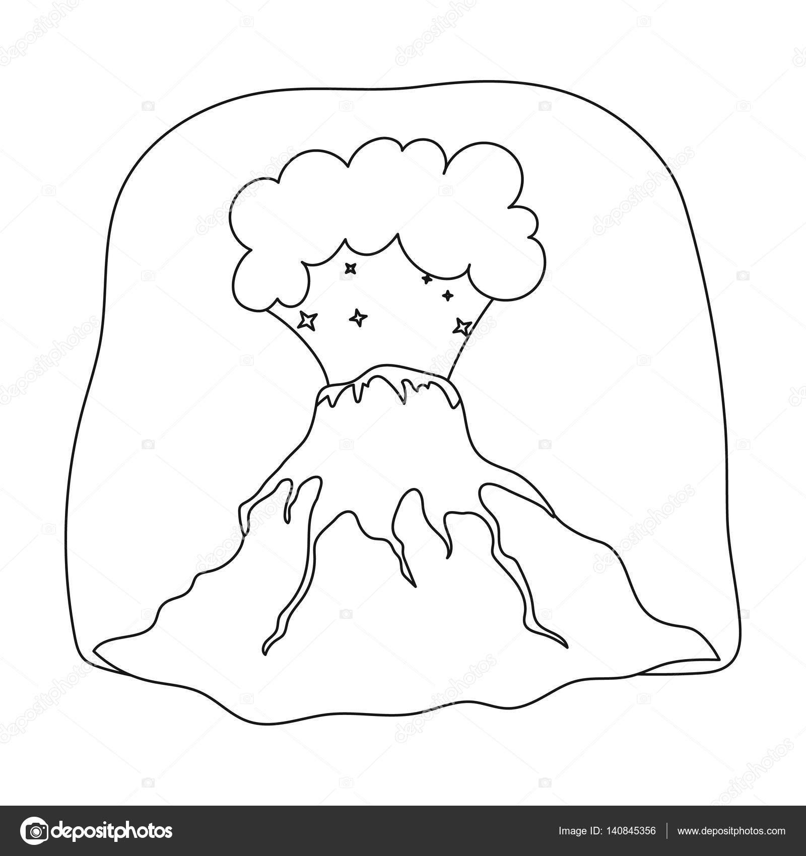 Icono de erupción de volcán en contorno estilo aislado sobre fondo ...