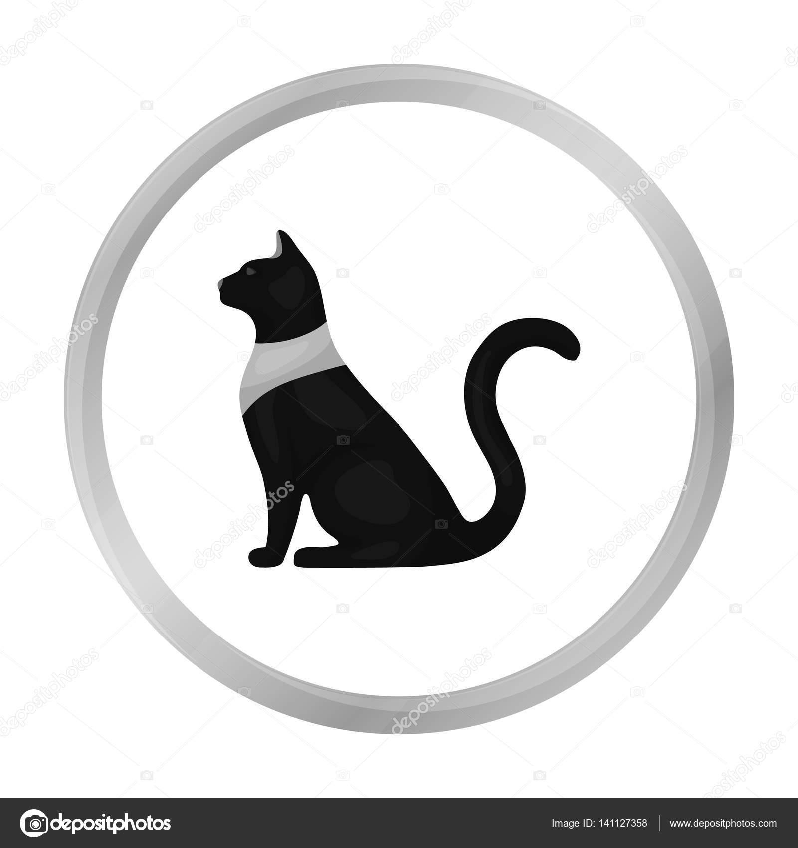 Cat Goddess Bastet Icon In Monochrome Style Isolated On White
