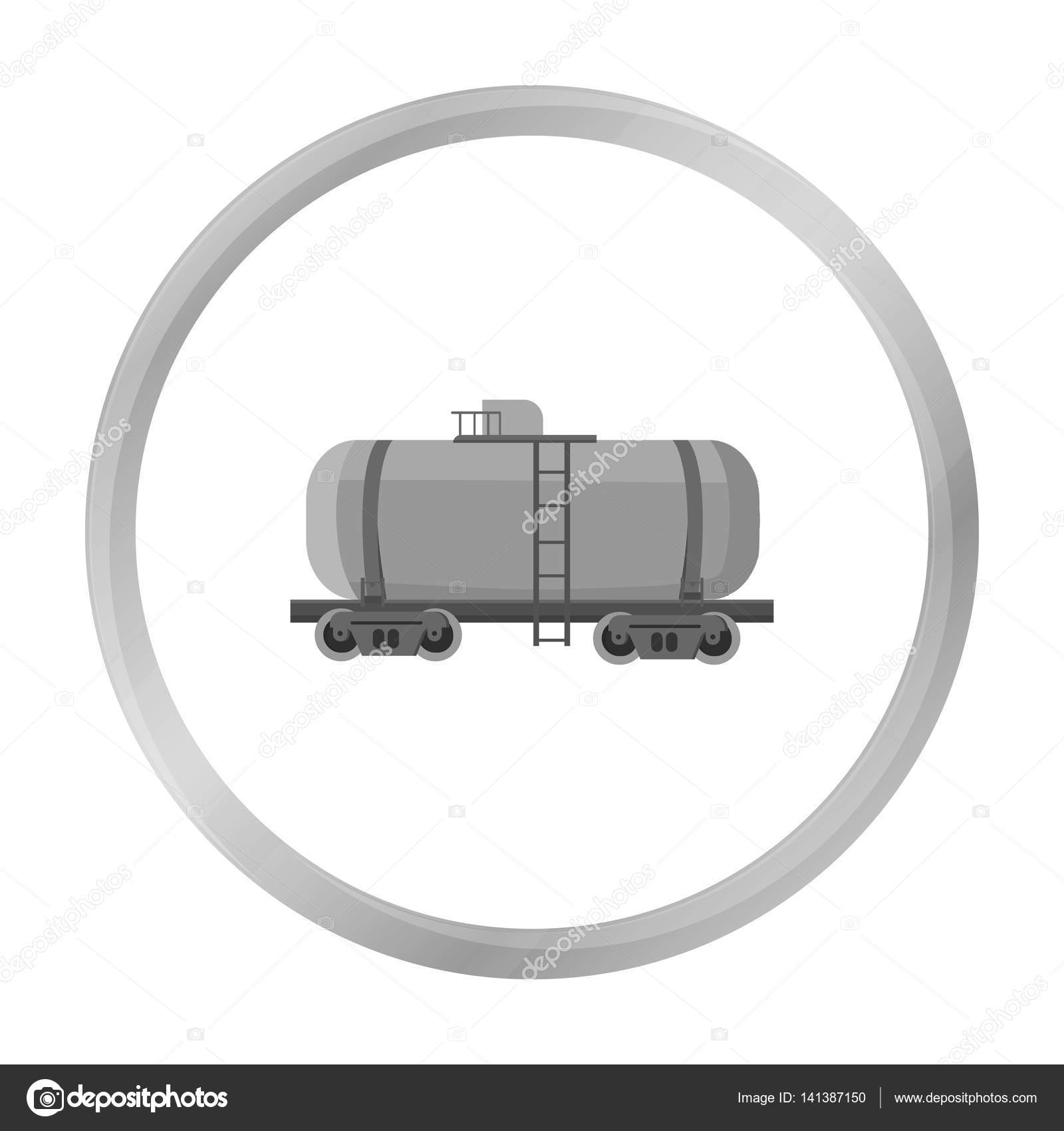 Oil Tank Car Icon In Monochrome Style Isolated On White Background