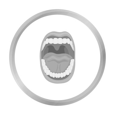 Mouth icon in monochrome style isolated on white background. Organs symbol stock vector illustration.