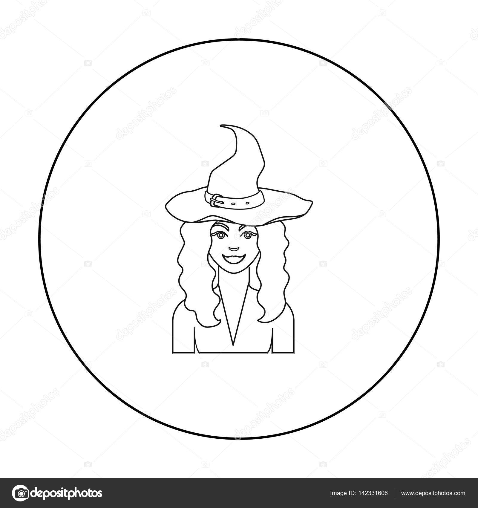 Witch Icon In Outline Style Isolated On White Background Black And