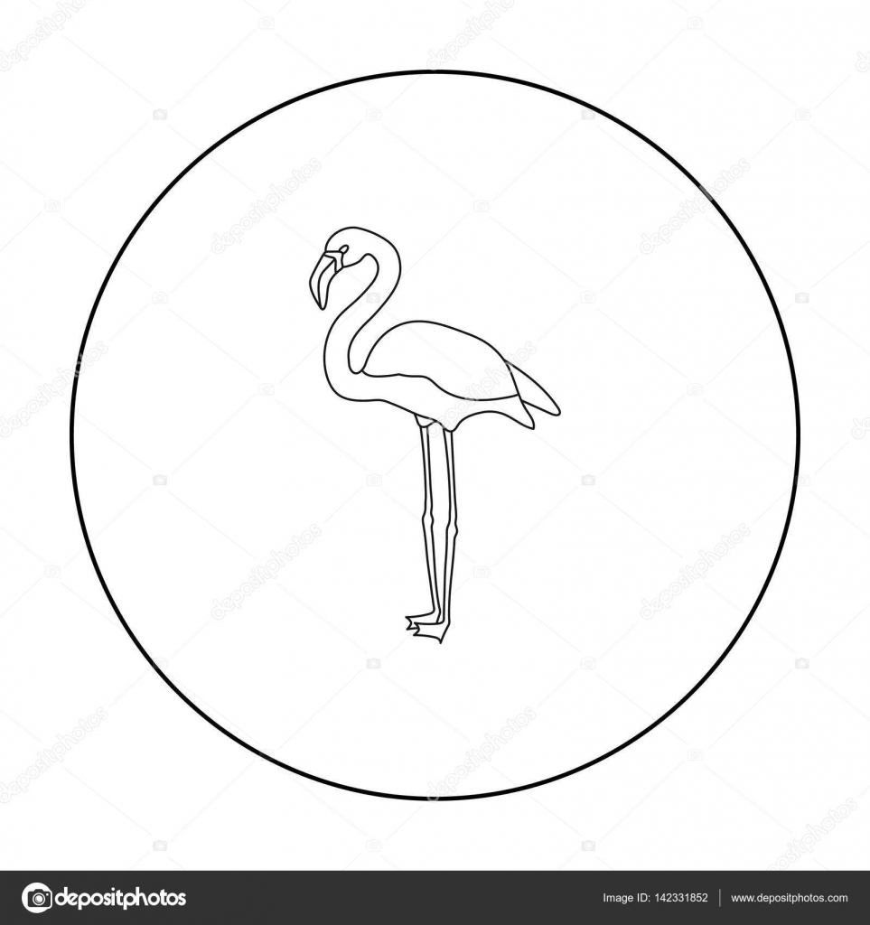 Flamingo icon in outline style isolated on white background Bird